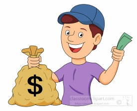 Boy Holding Bag Full Of Saved Money Clipart